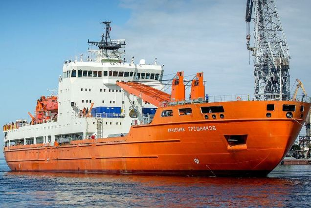 The Akademik Treshnikov, a Russian icebreaker that will host us for the ACE Maritime University and our journey down to South Africa.