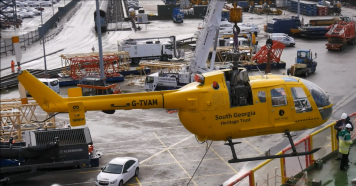 Loading helicopters in Southampton