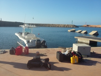 Equipment ready to be loaded on to the boat for a day at sea. © Daniel Moore